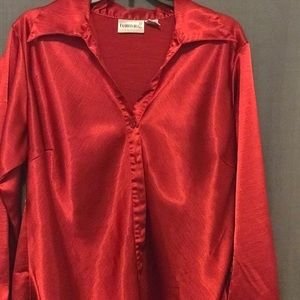 Bright Red Button-up Fashion Bug Blouse